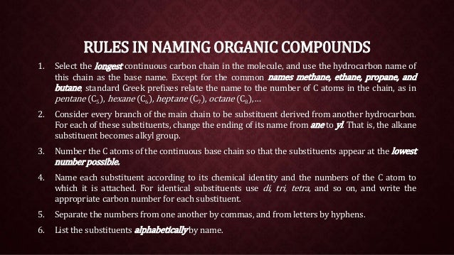 Nomenclature of Organic Compounds (IUPAC)