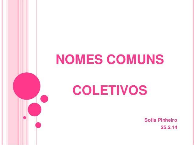 NOMES COMUNS COLETIVOS Sofia Pinheiro 25.2.14