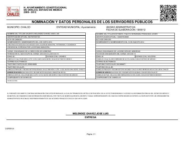 H. AYUNTAMIENTO CONSTITUCIONAL  DE CHALCO, ESTADO DE MÉXICO  2009 - 2012  NOMINACIÓN Y DATOS PERSONALES DE LOS SERVIDORES ...