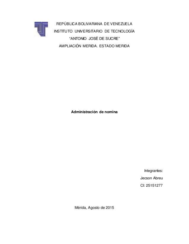 """REPÚBLICA BOLIVARIANA DE VENEZUELA INSTITUTO UNIVERSITARIO DE TECNOLOGÍA """"ANTONIO JOSÉ DE SUCRE"""" AMPLIACIÓN MERIDA. ESTADO..."""