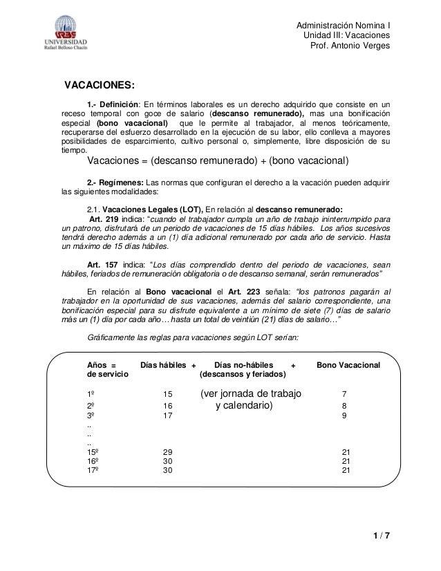 Administración Nomina I Unidad III: Vacaciones Prof. Antonio Verges 1 / 7 VACACIONES: 1.- Definición: En términos laborale...