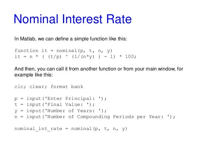 Nominal And Effective Interest Rate With Matlab