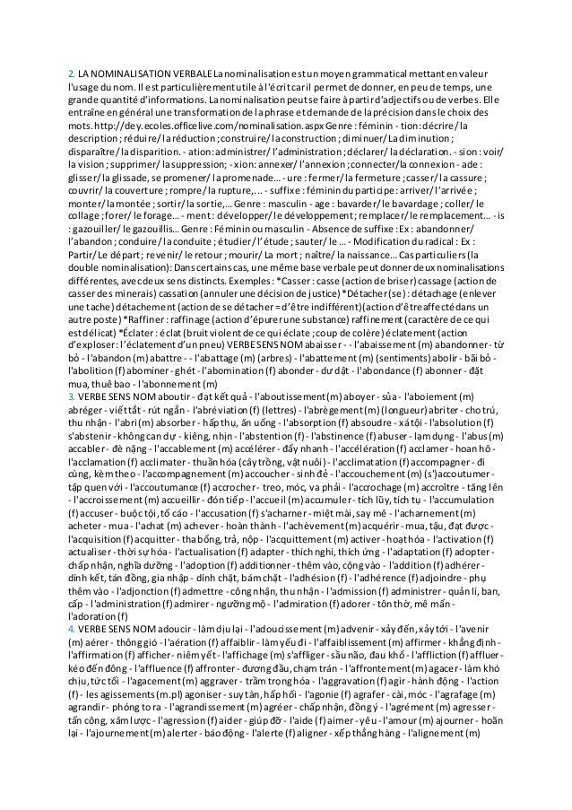 2. LA NOMINALISATION VERBALELanominalisationestunmoyen grammatical mettantenvaleur l'usage dunom. Il estparticulièrementut...