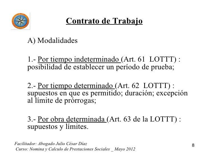 Nomina Y Calculo De Prestaciones Sociales