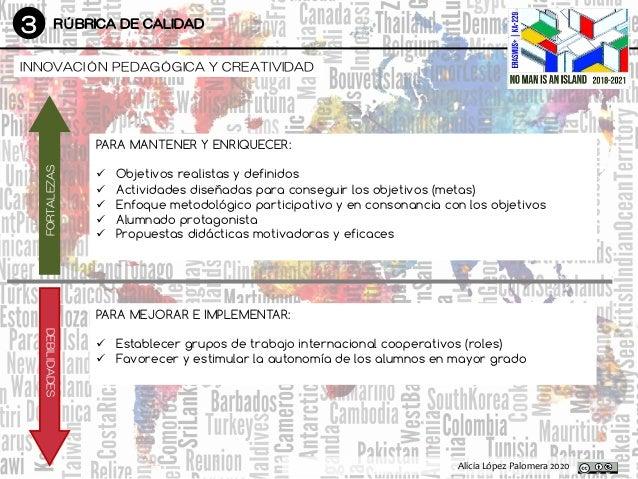 3 RÚBRICA DE CALIDAD DesarrolloDesarrollo Alicia López Palomera 2020 INNOVACIÓN PEDAGÓGICA Y CREATIVIDAD FORTALEZAS DEBILI...
