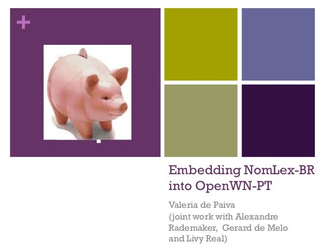 +  Embedding NomLex-BR into OpenWN-PT Valeria de Paiva (joint work with Alexandre Rademaker, Gerard de Melo and Livy Real)