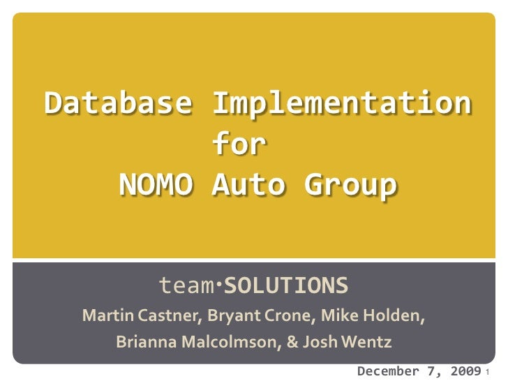 Database Implementationfor  NOMO Auto Group<br />teamSOLUTIONS<br />Martin Castner, Bryant Crone, Mike Holden, <br />Bria...