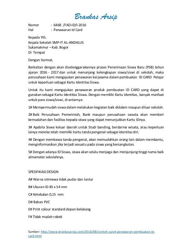 Surat Penawaran Jasa Pembuatan Id Card