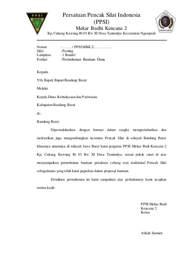 Contoh Proposal Permohonan Bantuan Peralatan Pencak Silat Berbagi Contoh Proposal