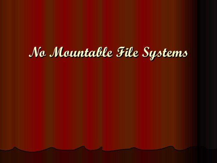 No Mountable File Systems