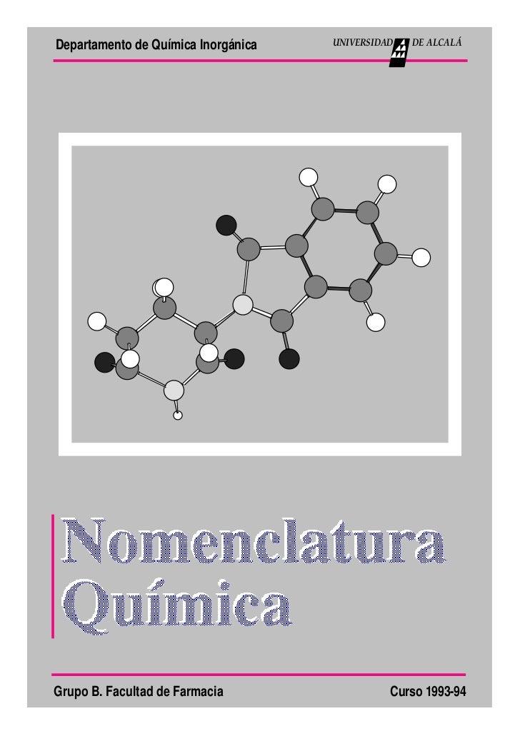 Departamento de Química Inorgánica   UNIVERSIDAD   DE ALCALÁGrupo B. Facultad de Farmacia                  Curso 1993-94