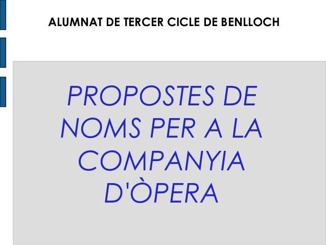 PROPOSTES DE NOMS PER A LA COMPANYIA D'ÒPERA ALUMNES DE TERCER CICLE DE BENLLOCH ALUMNAT DE TERCER CICLE DE BENLLOCH
