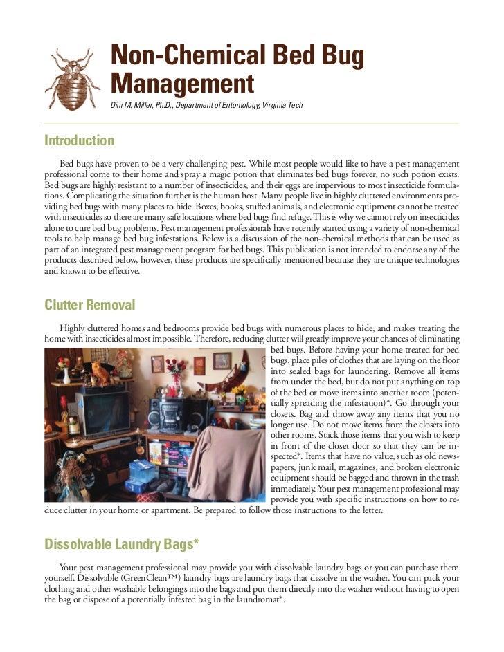 Non-Chemical Bed Bug                   Management                   Dini M. Miller, Ph.D., Department of Entomology, Virgi...