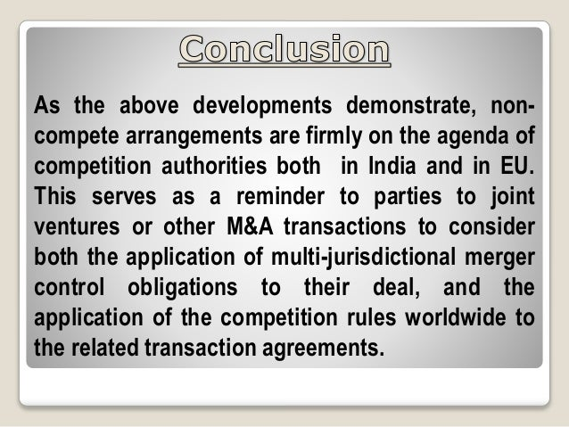 Non Compete Agreementclauses And Its Scrutiny By The Competition Aut