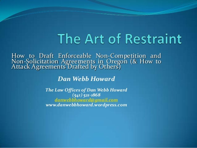 Non Compete Presentation By Daw Webb Howard Attorney At Law