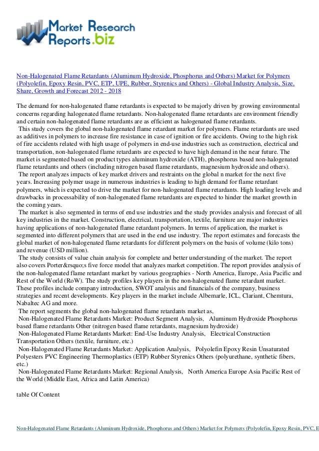 Non halogenated flame retardants (aluminum hydroxide, phosphorus and …