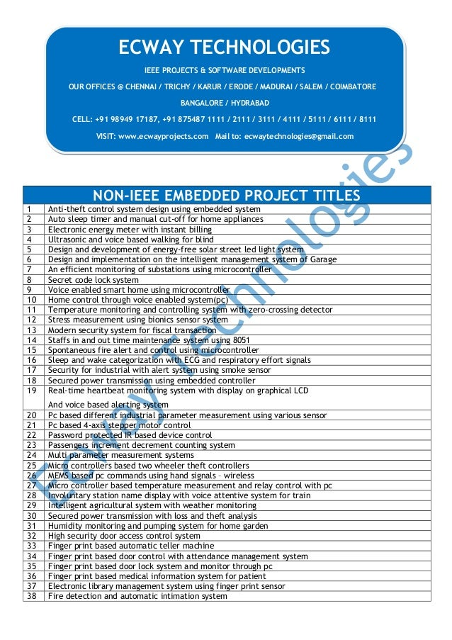NON-IEEE EMBEDDED PROJECT TITLES 1 Anti-theft control system design using embedded system 2 Auto sleep timer and manual cu...