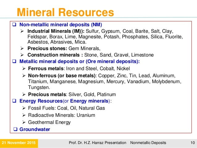 10 examples of metallic minerals.