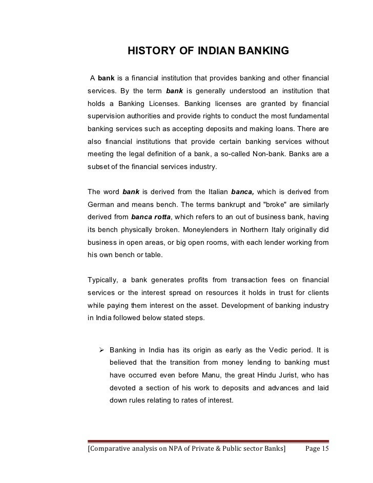 """objective of the study of non performing assets Management of non performing assets  to make a comparative study of npa""""s of  as a sample to analyze the management of non performing assets."""