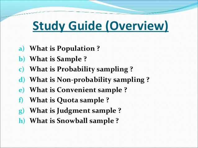 Non Probability Sampling Slide 2