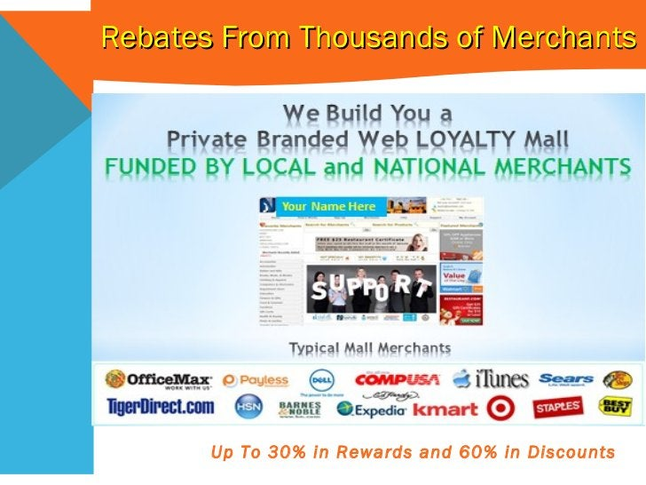 Rebates From Thousands of Merchants Up To 30% in Rewards and 60% in Discounts