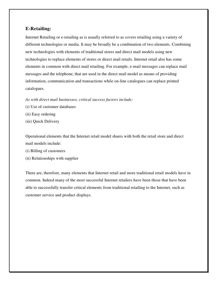Non store retail formats essays on education