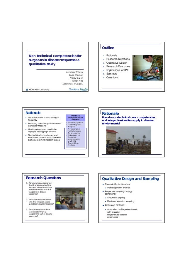 Non-technical competencies for surgeons in disaster response: a qualitative study Anneliese Willems Bruce Waxman Andrew Ba...