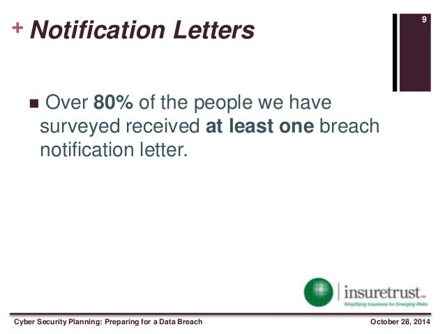 + Notification Letter 8 Cyber Security Planning: Preparing for a Data Breach October 28, 2014; 10.