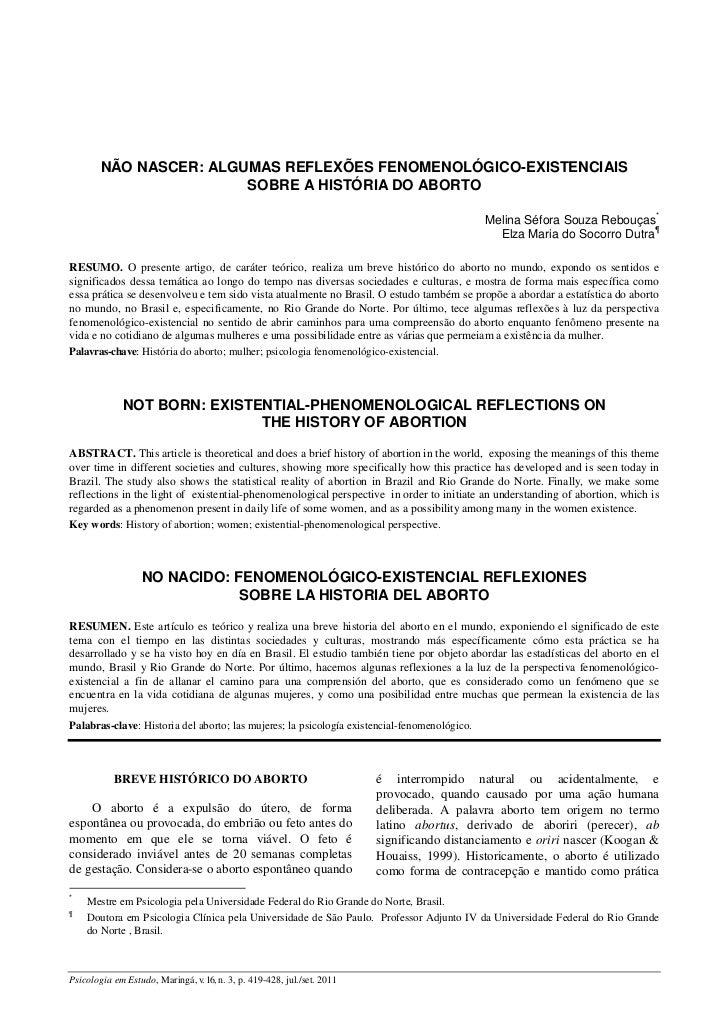 NÃO NASCER: ALGUMAS REFLEXÕES FENOMENOLÓGICO-EXISTENCIAIS                        SOBRE A HISTÓRIA DO ABORTO               ...