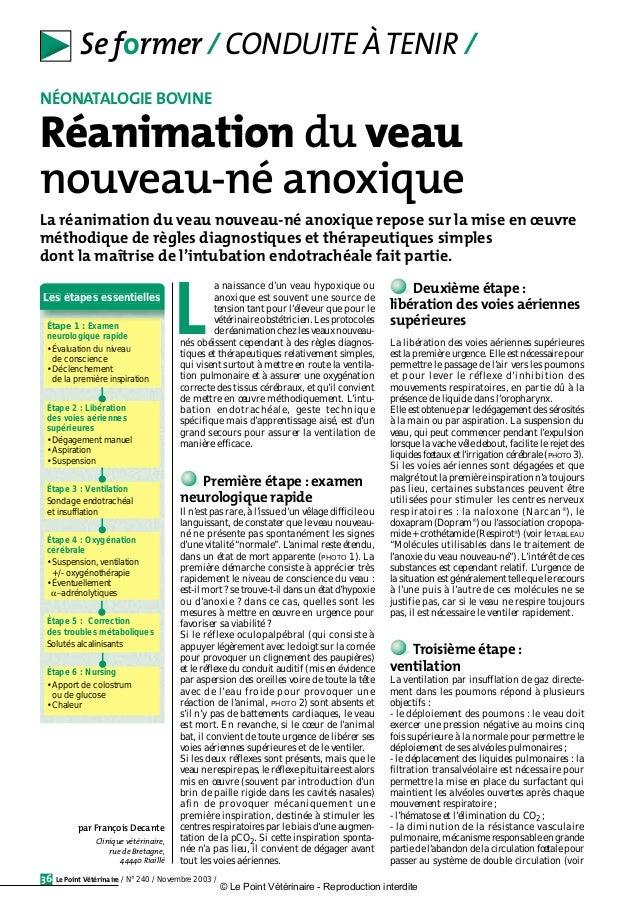 Le Point Vétérinaire / N° 240 / Novembre 2003 /36 Se former / CONDUITE ÀTENIR / a naissance d'un veau hypoxique ou anoxiqu...