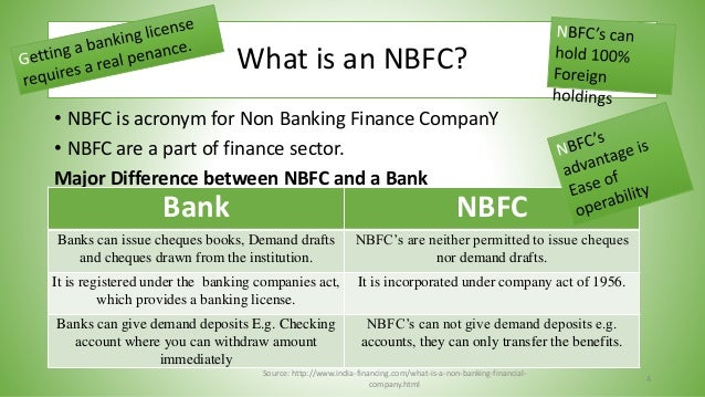 difference between banking and non banking financial institutions From a business perspective, there is no non-bank financial institution (nbfi)  industry  it is important to distinguish between primary and ancillary services.
