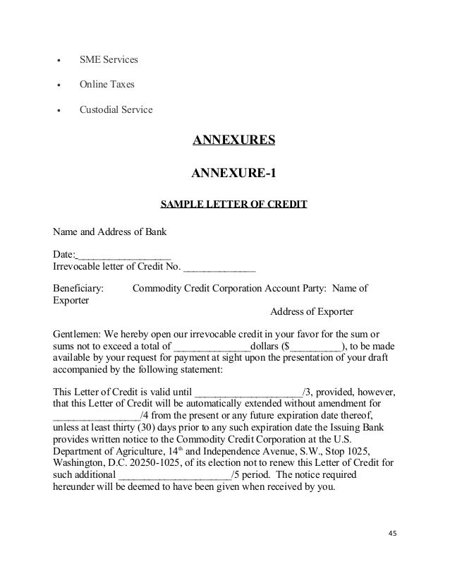 Letter Of Credit Facility. Non Banking Services .