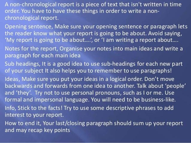 non chronological reports
