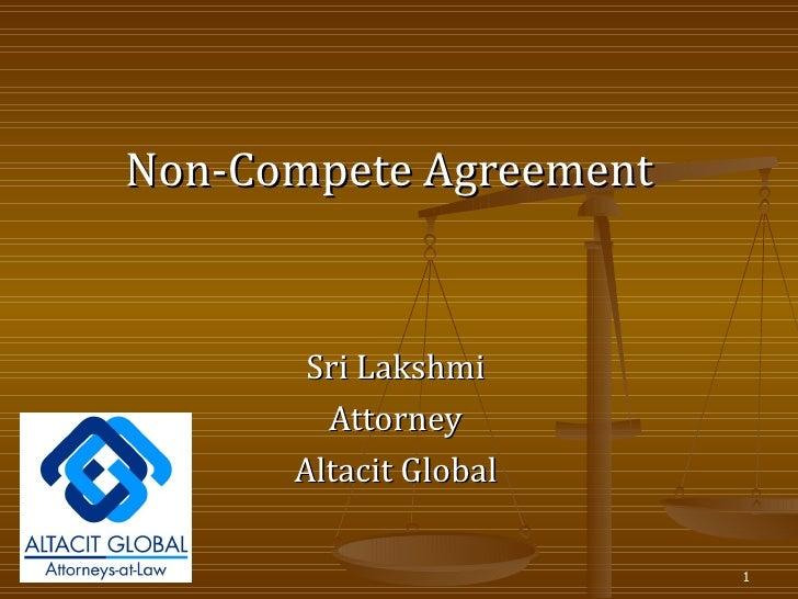 Sri Lakshmi Attorney Altacit Global Non-Compete Agreement