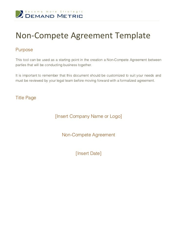 Non Compete Agreement Template – Sample Non Compete Agreement Template