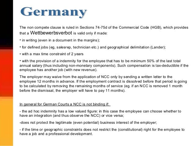 Non compete clauses in Europe: a general overview