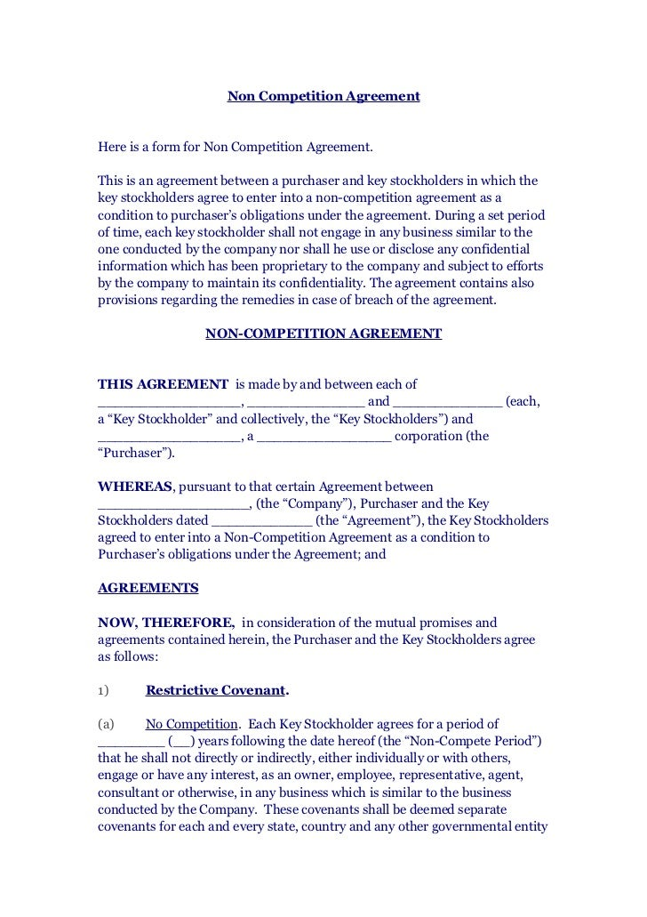 Non Compete Agreement Template Contractor Non Compete Agreement