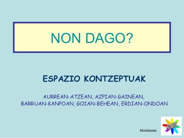 NON DAGO?  ESPAZIO KONTZEPTUAK  AURREAN-ATZEAN, AZPIAN-GAINEAN,  BARRUAN-KANPOAN, GOIAN-BEHEAN, ERDIAN-ONDOAN  Moldaketa: