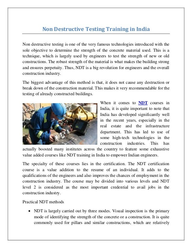Non Destructive Testing Training In India