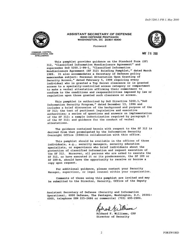 U.S. Department Of State; Non Disclosure Agreement