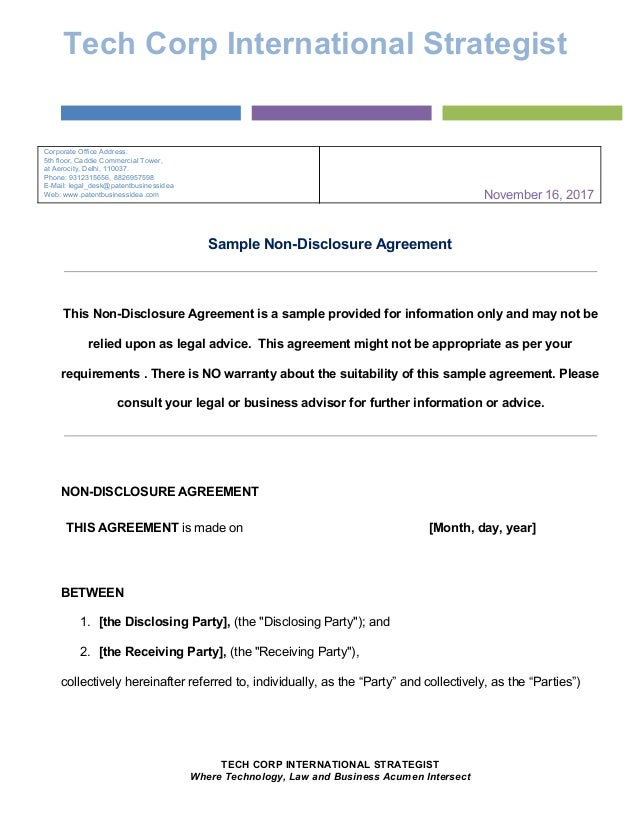 sample non disclosure agreement