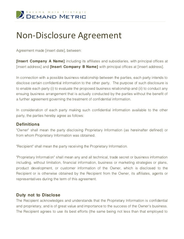 Lovely Non Disclosure AgreementAgreement Made [insert Date], Between:[Insert  Company A ...