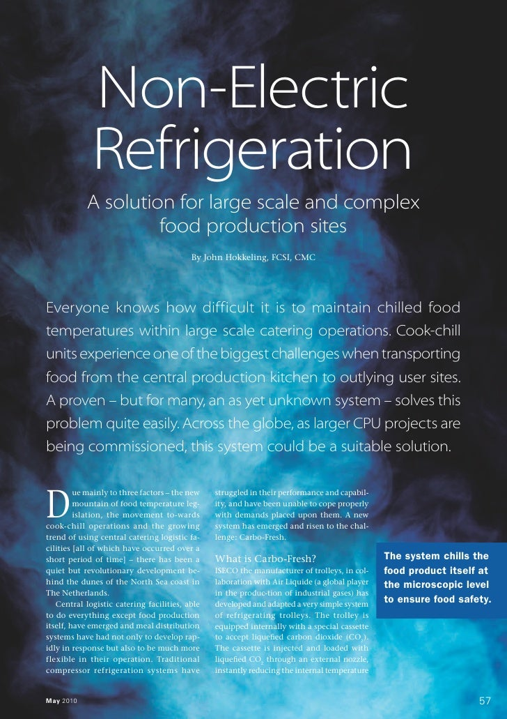 Non-Electric              Refrigeration            A solution for large scale and complex                     food product...