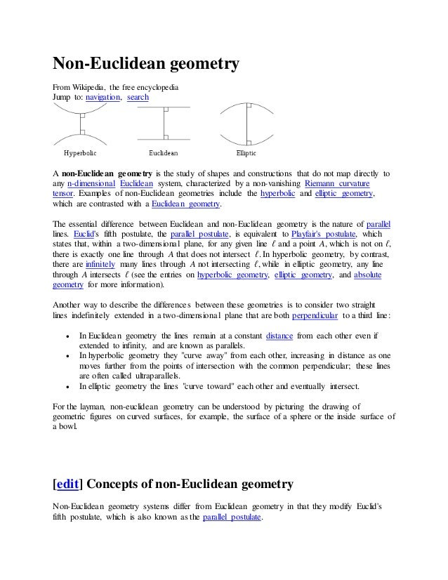 Non-Euclidean geometry From Wikipedia, the free encyclopedia Jump to: navigation, search A non-Euclidean geometry is the s...