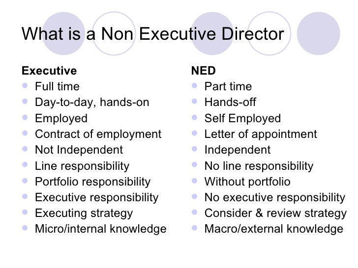 Whats Difference Between Executive >> Non Executive Director