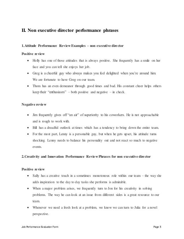 Job Performance Evaluation Form Page 8 II. Non Executive Director ...