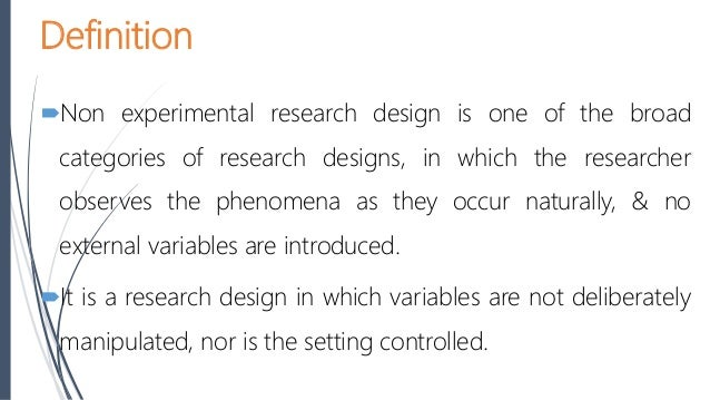 non experimental research definition