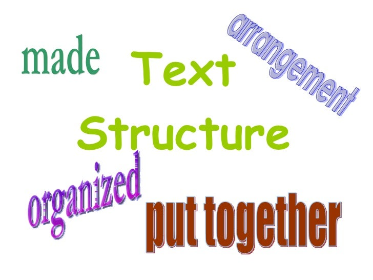 Text Structure organized put together arrangement made
