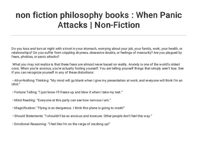 non fiction philosophy books : When Panic Attacks | Non-Fiction