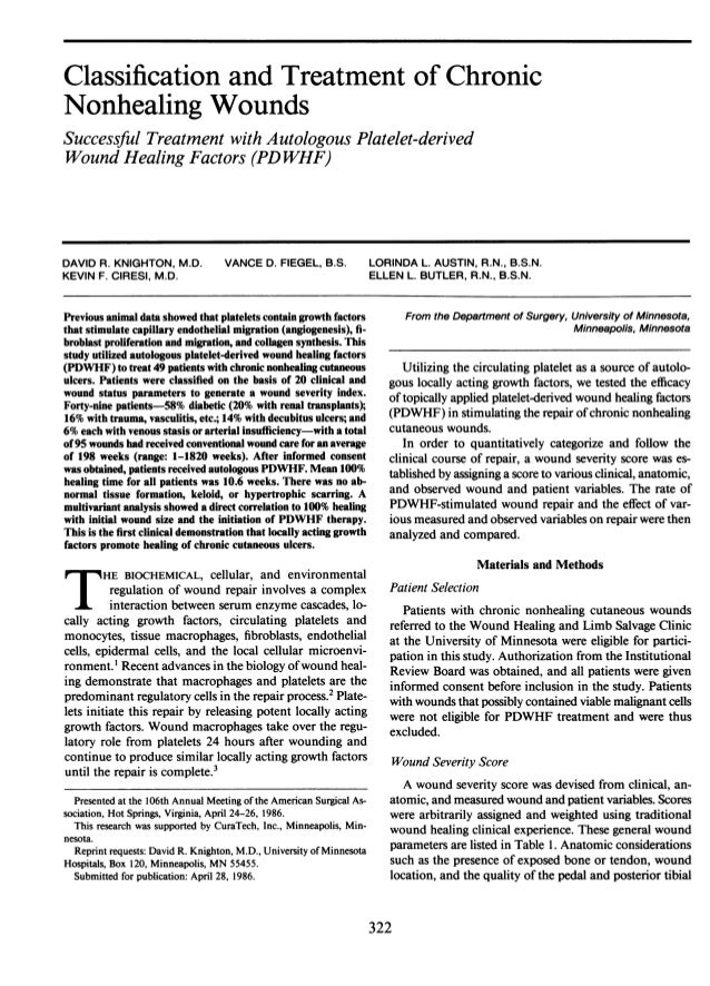 Classification and Treatment  of Chronic  Nonhealing Wounds Successful Treatment with Autologous Platelet-derived Wound He...